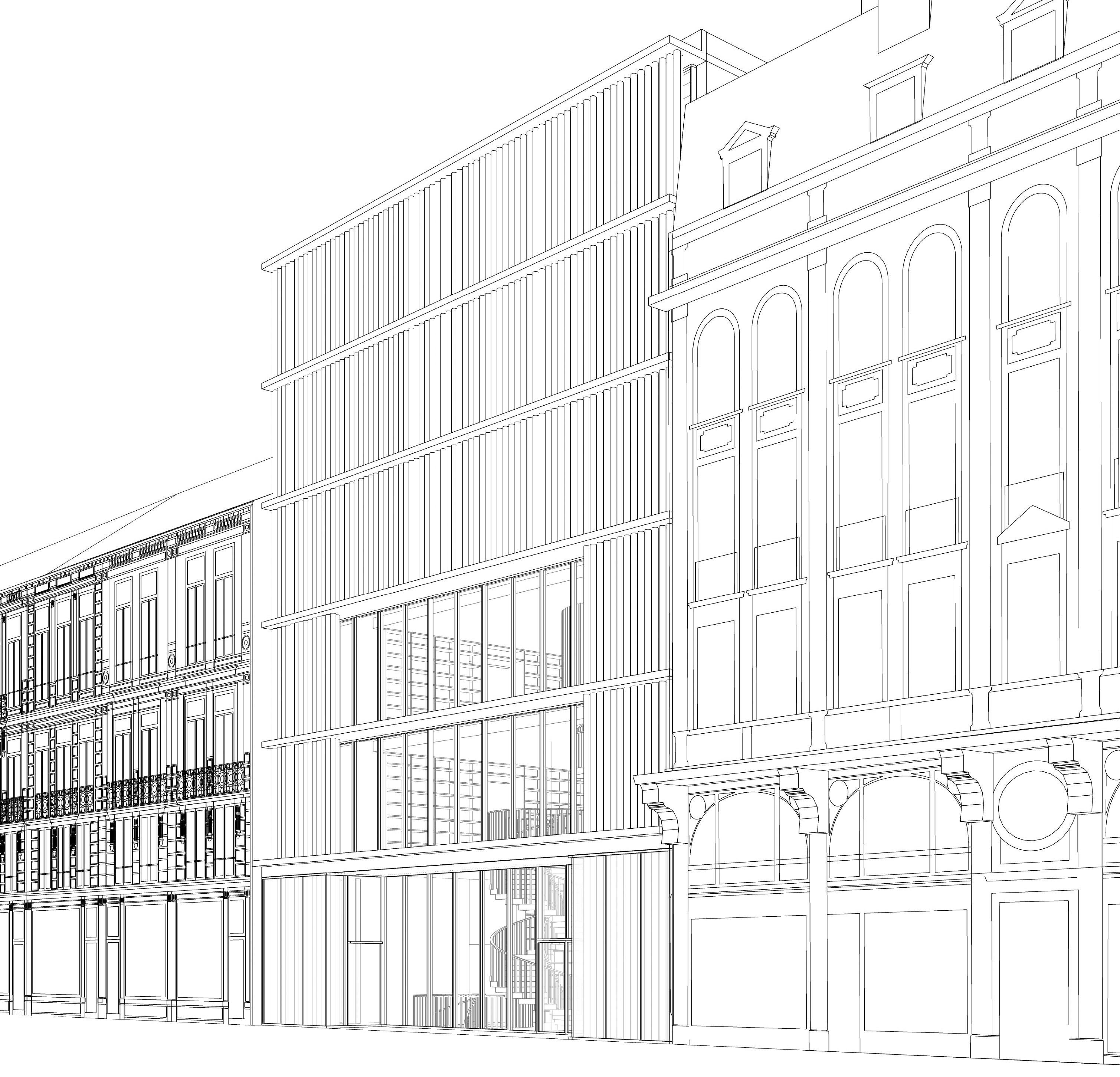Ontwerp van de nieuwbouw © Robbrecht en Daem architecten